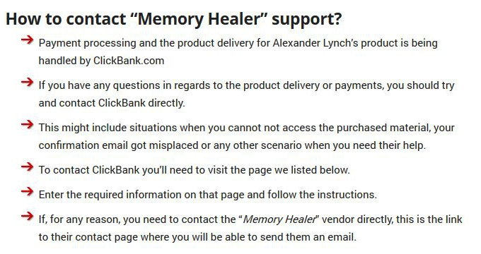 How to contact Memory Healer Program support